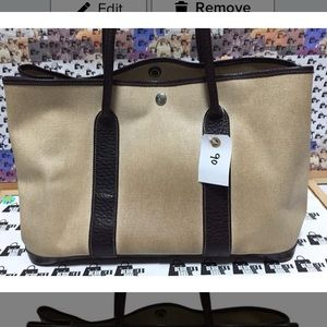 Hermes Garden Party Canvas Trim leather Tote